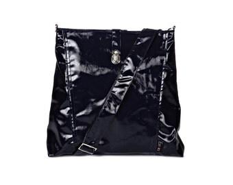 Backpack and Messenger bag Vegan, dark blue, 2 IN 1, Laptop 13 backpack, multiple pockets, Vegan Shoulder Bag, Leah, gift, cross body,