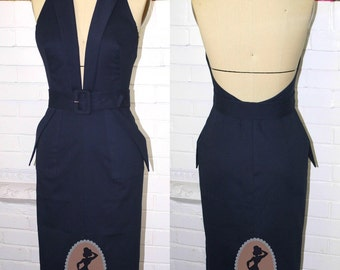 RESERVED FINAL Miss Monroe's Parade Dress-Navy And White Gown -Custom Sized