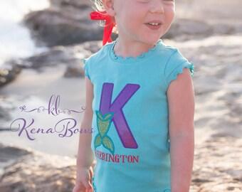 Mermaid Shirt: Personalized Mermaid Glitter, Summer, Beach, Girl, Purple Lace Mermaid Crown, Tieback Shell Headband, Vacation Outfit