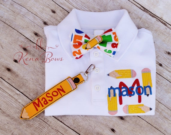 School polo shirt personalized shirt first day of by kenabows for Personalized polo shirts for toddlers