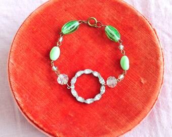 Miss Deco... Handmade beaded bracelet/Mint glass beads/Rhinestone finding