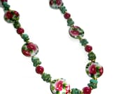 Pink and Green Necklace, Floral Necklace, Beaded Necklace, Long Necklace, Gift for Her, Under 100 Dollars
