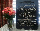 And They Lived Happily Ever After - Personalized Wedding/Anniversary Sign/Family Name Sign