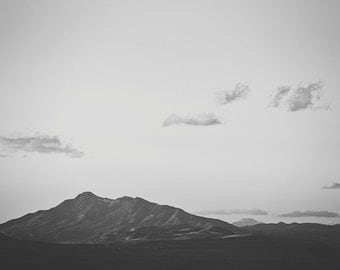 Mountain Landscape Photograph in Black and White, Vintage Inspired Wall Art