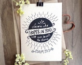 Scripture cards. Hope in you card. Psalms 25:3. Handrawn kraft card. PS406