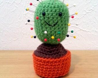 Cactus Pincushion, Crochet Cactus, Green Cactus Pin Cushion, Crochet and Sewing Supply
