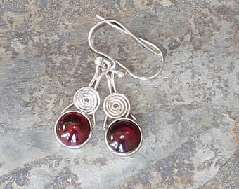 Garnet Earrings, Natural Stone Earrings, Gemstone Earrings, Burgundy Earrings, Sterling Silver Earrings, Red Earrings, January Earrings