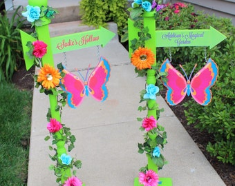 Fairy Garden Party Personalized Sign, Fairy Birthday Decor, Pixie Hollow Flower & Butterfly Directional Sign