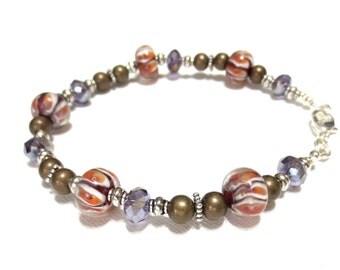 Women's Tiger Stripe Bronze Anklet, Orange and White Striped Lampwork Beads, Bronze Beading, Clemson Bracelet, Purple Crystals, OOAK