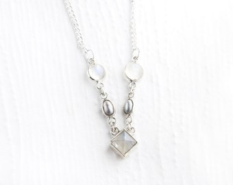 Rainbow Moonstone and Grey Pearl Sterling Silver Necklace