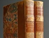 Antique Books - Jameson Sacred and Legendary Art - Art History - Houghton Mifflin 1891 - Leather Binding - Saints Heros Marbled Paper