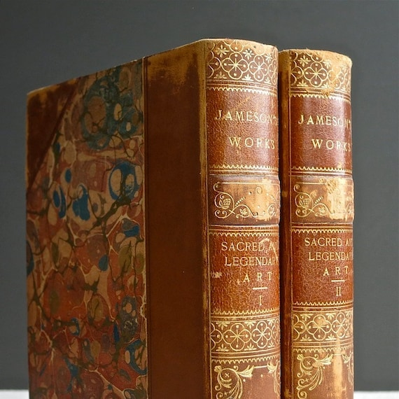 Antique Books - Jameson Sacred and Legendary Art - Art History - Houghton Mifflin 1891 - Leather Binding - Saints Heros Marbled Paper