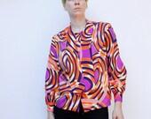 Vintage 60's blouse - Psychedelic circle pattern - Purple, Orange, White, Pussy Bow - Medium / Large