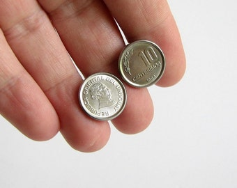 Uruguay coin cufflinks . world coin cufflinks . mens cuff links