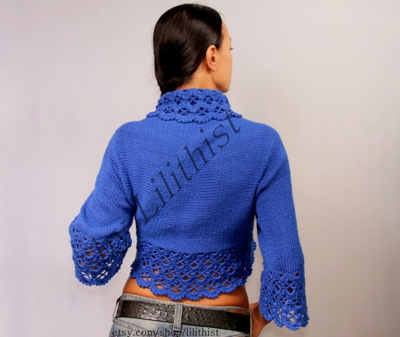 Cobalt Blue Shrug Sweater, Crochet Bolero, Lace Shrug, Knit Bolero Cape, Boho Wedding Bolero Jacket, Crochet Cardigan Women Fashion S M L