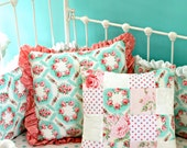 Primrose Garden Accessories for Shabby Chic Aqua and Pink Crib Bedding Set - Pillows, Blankets, Crib Sheets, and More