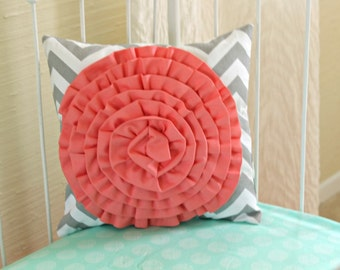 Sweet Sorbet Coral Rosette Pillow on Gray Chevron