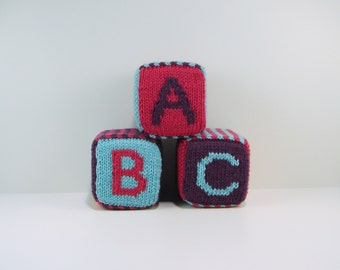 Set of Three Knitted Blocks- Pink, Purple, and Teal