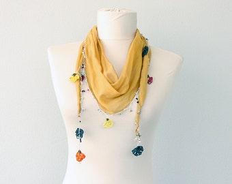 Lace scarf Necklace scarf Oya triangle scarf Ethnic lace headwrap Summer scarves Cotton skinny scarf Crochet lace mustard Gift for her
