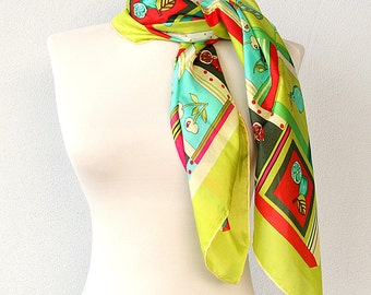Silk scarf Luxury gift for her Fruit print scarf Summer fashion Pure silk scarves Large head wrap Modern design Lime green turquoise pink