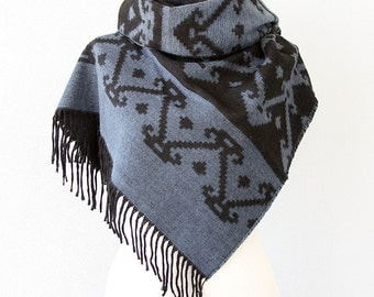 Large wrap shawl Aztec blanket scarf Native scarf Boho chic Tribal winter scarf Winter wrap Geometric hippie scarf Dark denim blue black