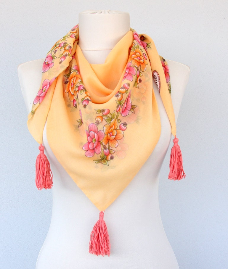 apricot tassel scarf yellow scarf summer scarves floral scarf