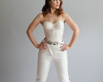 80s White Leather Pants - Vintage 1980s High Waist Pants - White Lightening Leather Pants