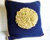 Navy Blue Pillow Cover, Giant Yellow Flower Pillow, Reversible Handmade Knitted Square Throw Pillow Cover, Michigan Colors Blue and Yellow