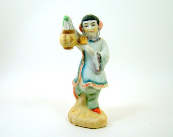 Asian Woman Figurine in Blue Tunic and Pants Holding Lantern and Fan, Japanese Woman Statue, Handpainted Porcelain Collectible Made in Japan