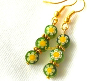 Green Earring Daisy Earrings Flower Earrings Drop Earrings Surgical Steel Earrings French Hooks Option millefiori earrings
