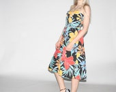 Vintage Floral  Dress - vintage summer dress -  Vintage graphic dress   - WD0286
