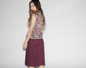 1980s Burgundy Floral Dress - Vintage Peplum  Dresses - The Leslie Dress - 10000