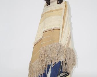 Vintage 1960s Woven Poncho - Vintage 60s  Poncho - The Freedom  Poncho - WO0142