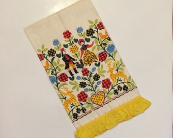Linen Tea Towel Dutch Couple Animals and Flowers and  Yellow Ruffle