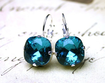 Leverback Crystal Earrings in Teal - Swarovski Crystal Cushion Cut Stones in Indicolite and Silver - Square Crystal Earrings
