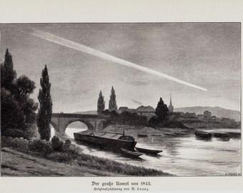 1898 Original Antique COMET print
