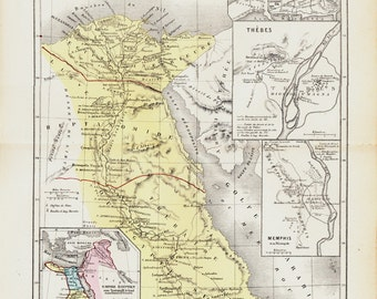 1872 Antique EGYPT map, Ancient Egypt, Alexandria, Thebes and Memphis,