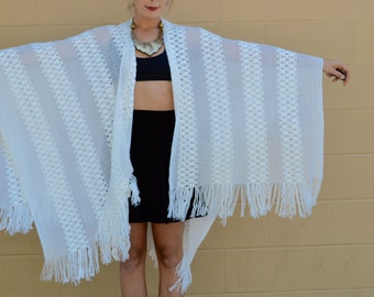 Vintage White CROCHET PONCHO SHAWL Wrap with Fringe Big and Beautiful