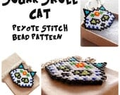 Sugar Skull Cat - Brick Stitch Pattern, Day of the Dead Bead Weaving