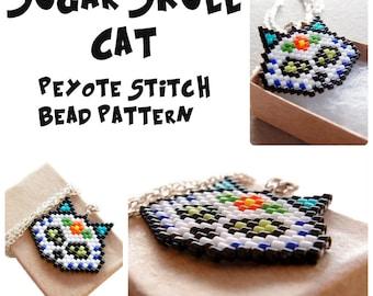 Sugar Skull Cat - Peyote / Brick Stitch Pattern, Day of the Dead Bead Weaving