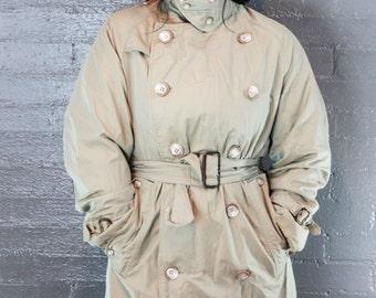 SALE Vintage Steam Punk Khaki Trench Coat By Baracuta