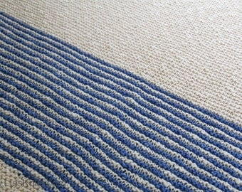 Navy and Beige Hand Knit Organic Cotton Blanket