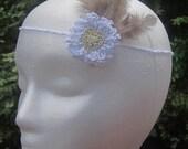 Crochet Bohemian Wedding Headband, Hippie, 1970's Style Headband with Feathers