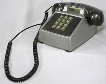 Desk Phone touch tone telephone real bell ringer Silver Black re purposed communication  cc