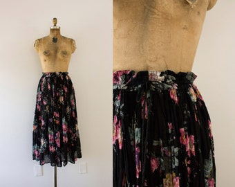 1980s Nature's Dreamland midnight floral summer skirt / 80s indian cotton