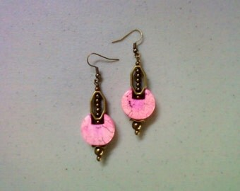 Pink and Brass Earrings (1432)