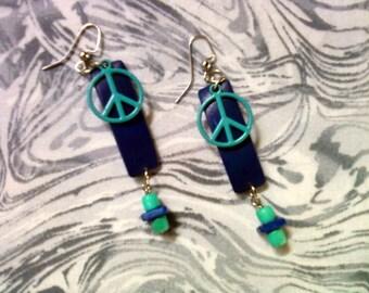 Royal Blue and Aqua Peace Earrings (1419)