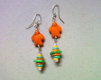 Orange Turtle Earrings (1458)