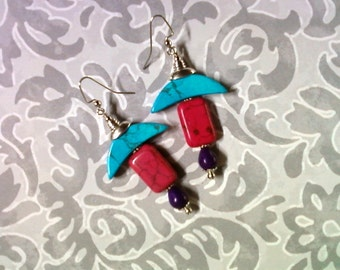 Turquoise, Pink and Purple Earrings (2061)