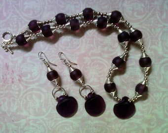 Purple and Silver Ethnic Inspired Necklace (1541)